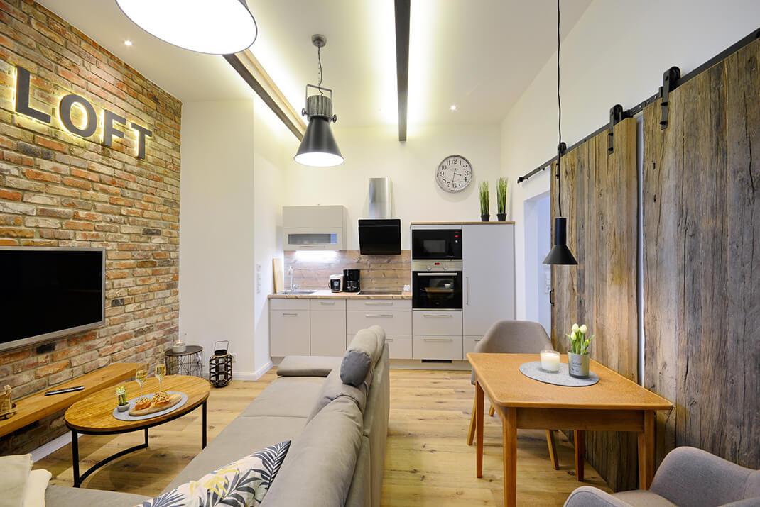 Deichloft - Blick auf die Küche